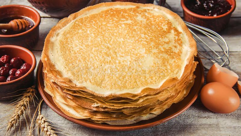 Crepes are homemade. Pancakes. Selective focus royalty free stock photos