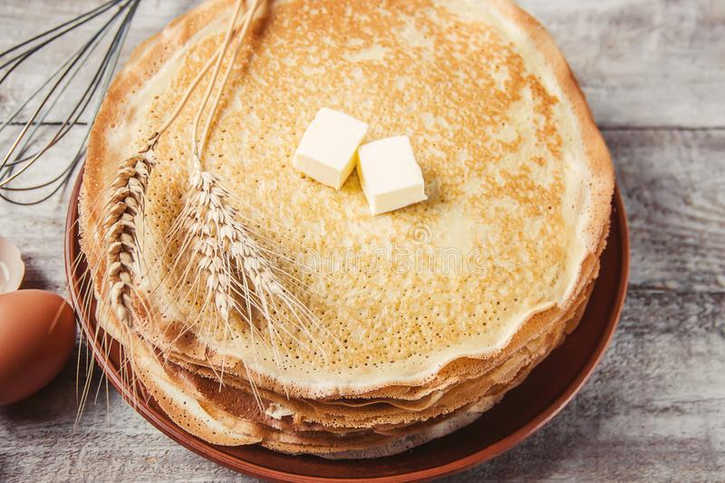 Crepes are homemade. Pancakes. Selective focus stock photos