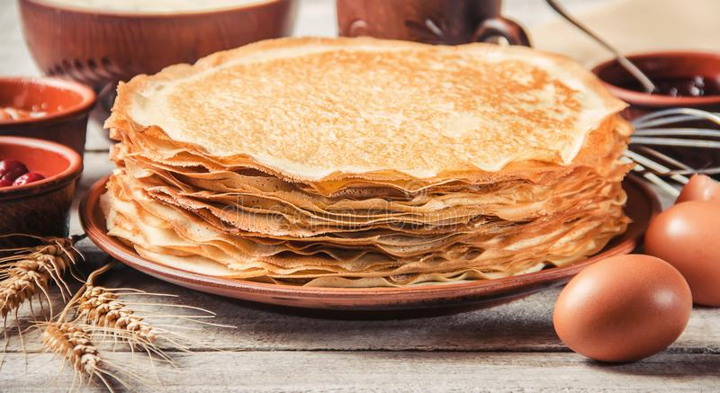 Crepes are homemade. Pancakes. Selective focus stock image