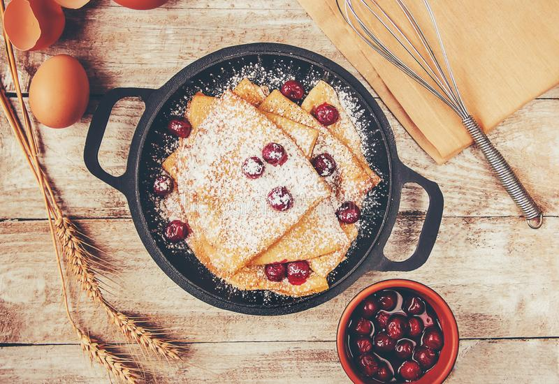 Crepes are homemade. Pancakes. Selective focus royalty free stock images