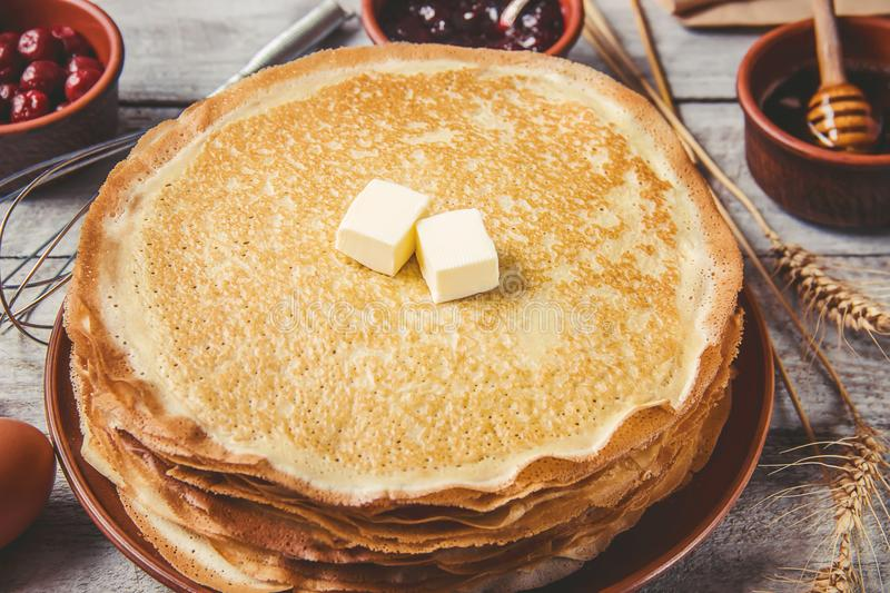 Crepes are homemade. Pancakes. Selective focus royalty free stock photo