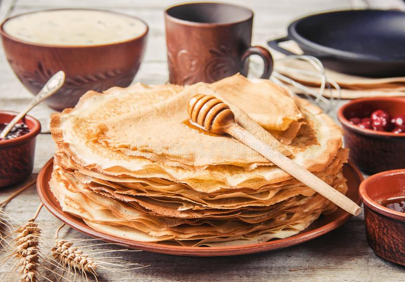 Crepes are homemade. Pancakes. Selective focus royalty free stock photography