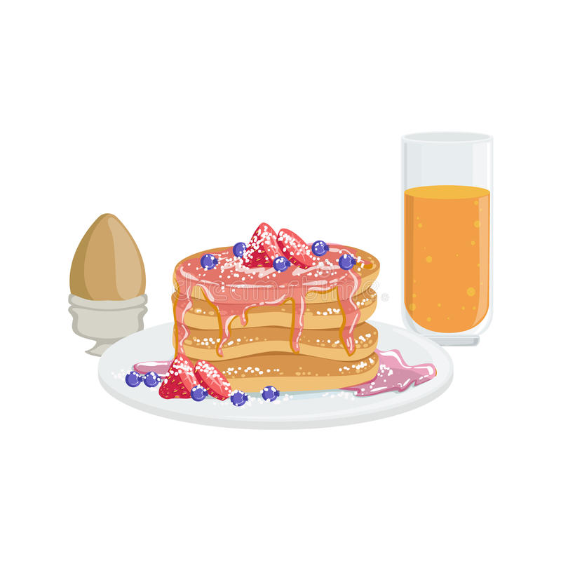 Crepes, huevo y naranja Juice Breakfast Food Drink Set libre illustration
