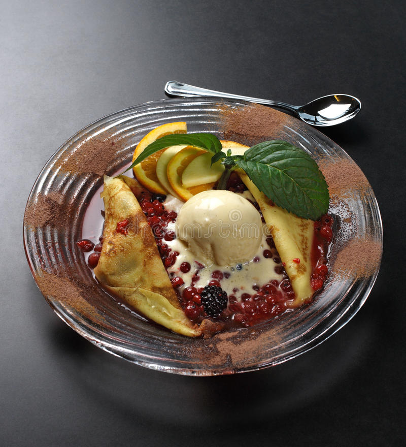 Crepes and ice cream royalty free stock image