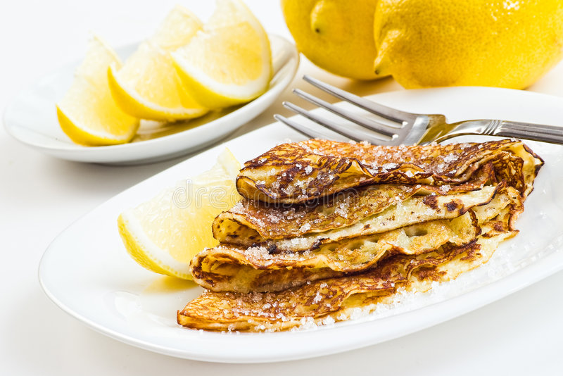 Crepes with lemon stock photo