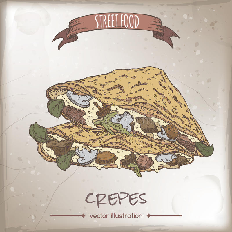 Crepes with meat, cheese and mushrooms color sketch. On grunge background. French cuisine. Street food series. Great for recipe books, markets, restaurants stock illustration