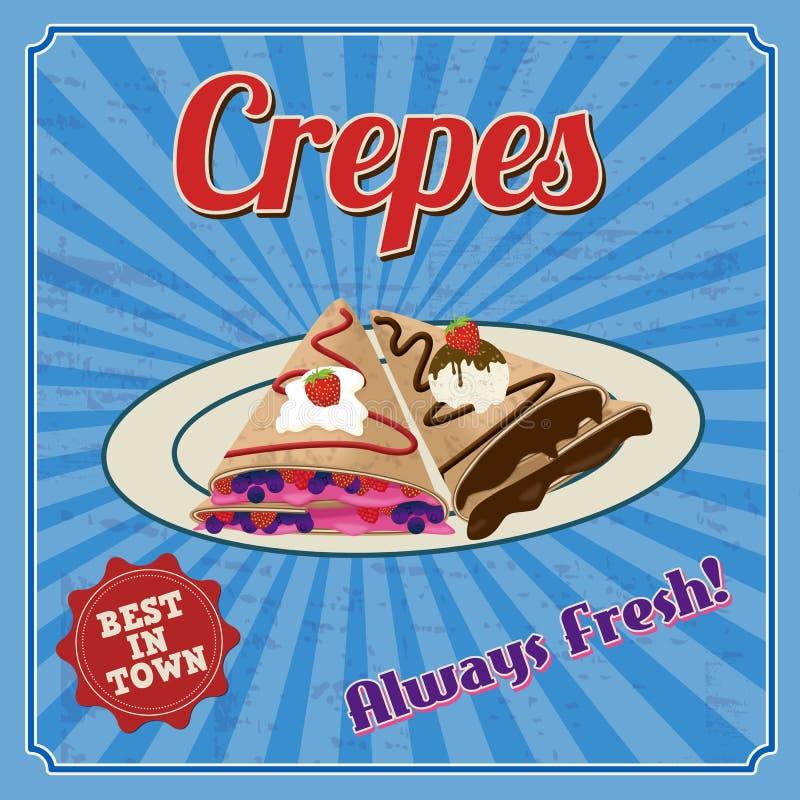 Crepes retro poster stock illustration