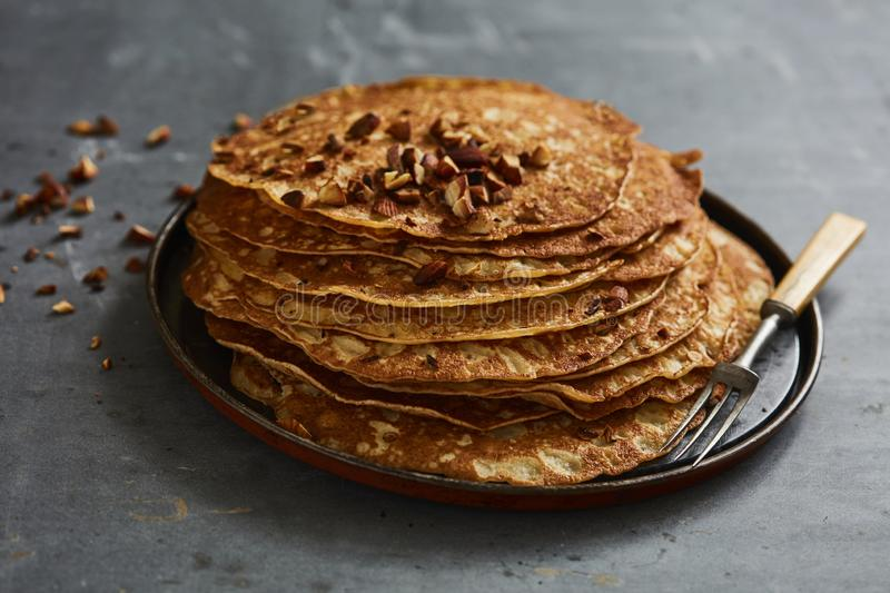 Crepes with roasted almonds stock image