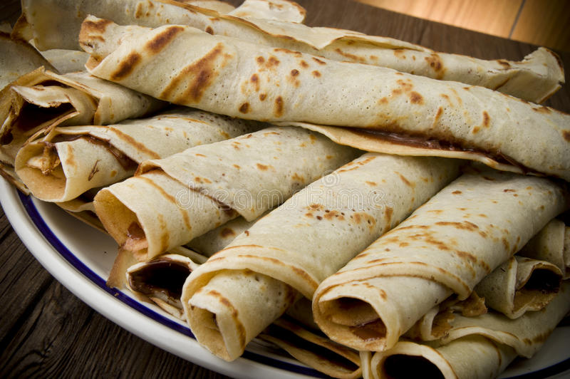 Crepes. Sweet crepes with chocolate cream homemade product royalty free stock photos