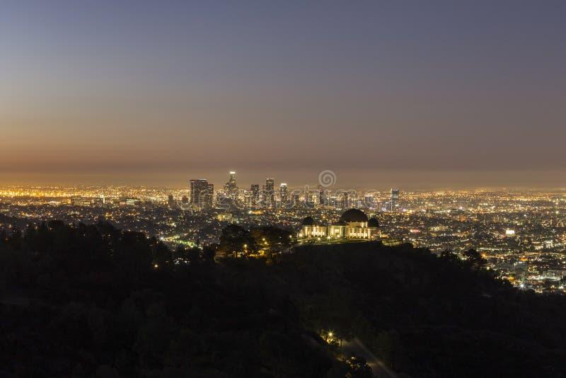 Crepuscolo del centro di Los Angeles fotografia stock
