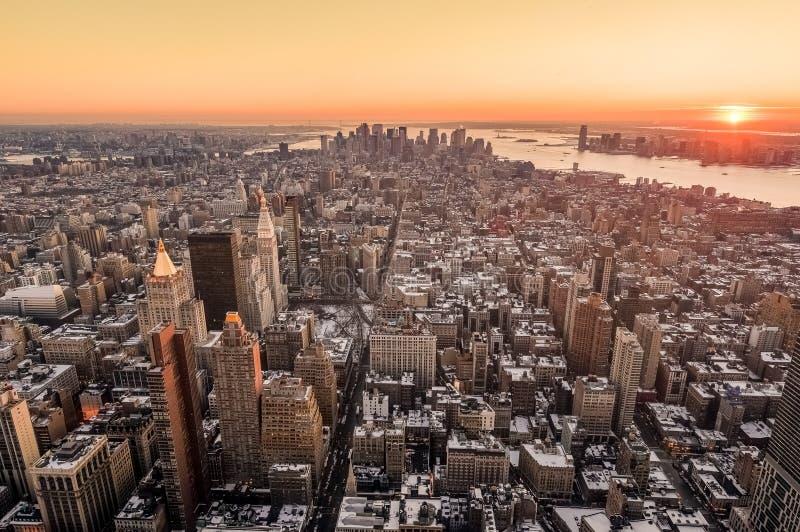Crepuscolo in Lower Manhattan, New York, Stati Uniti fotografia stock