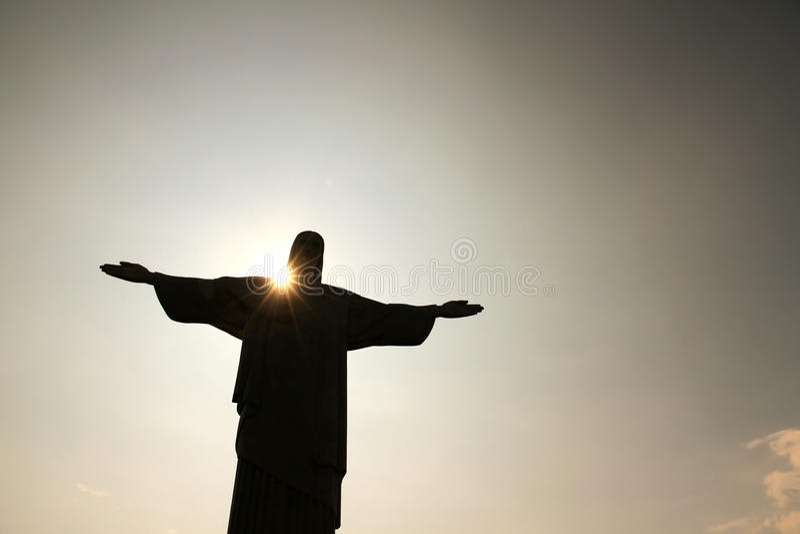 Crepuscolo sopra Cristo Redentor fotografia stock libera da diritti