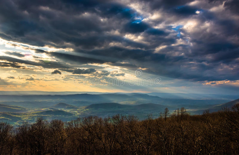 Crepuscular rays over the Appalachians, seen from Skyline Drive. In Shenandoah National Park, Virginia stock photo