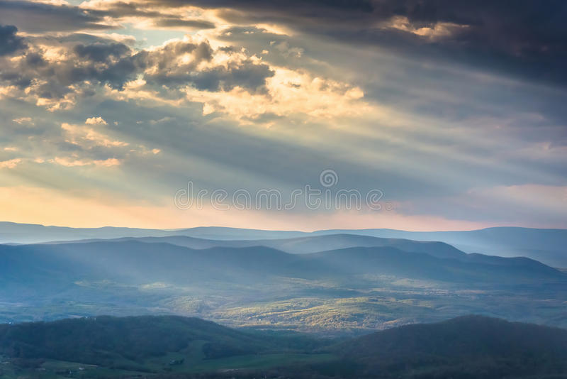 Crepuscular rays over the Appalachians, seen from Skyline Drive. In Shenandoah National Park, Virginia stock images