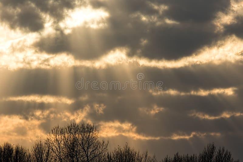 Crepuscular solstrålar till och med molnet Härlig solnedgång för molnig himmel royaltyfri bild
