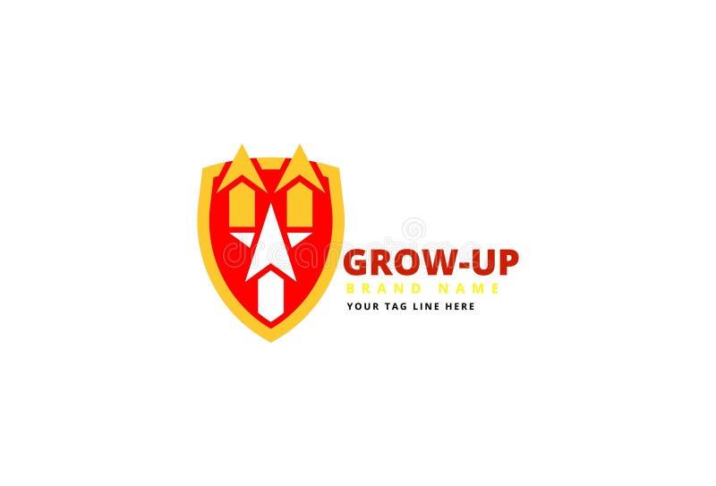 Cresça acima o projeto do logotipo do negócio ilustração do vetor