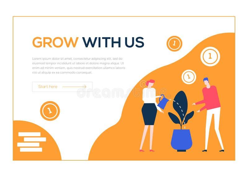 Cresça connosco - a bandeira colorida da Web do estilo liso do projeto ilustração royalty free
