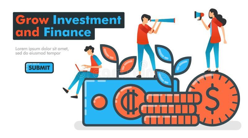 Cresça a linha ilustração do investimento e da finança do vetor invista o dinheiro para crescer ativos financeiros e para esperar ilustração stock