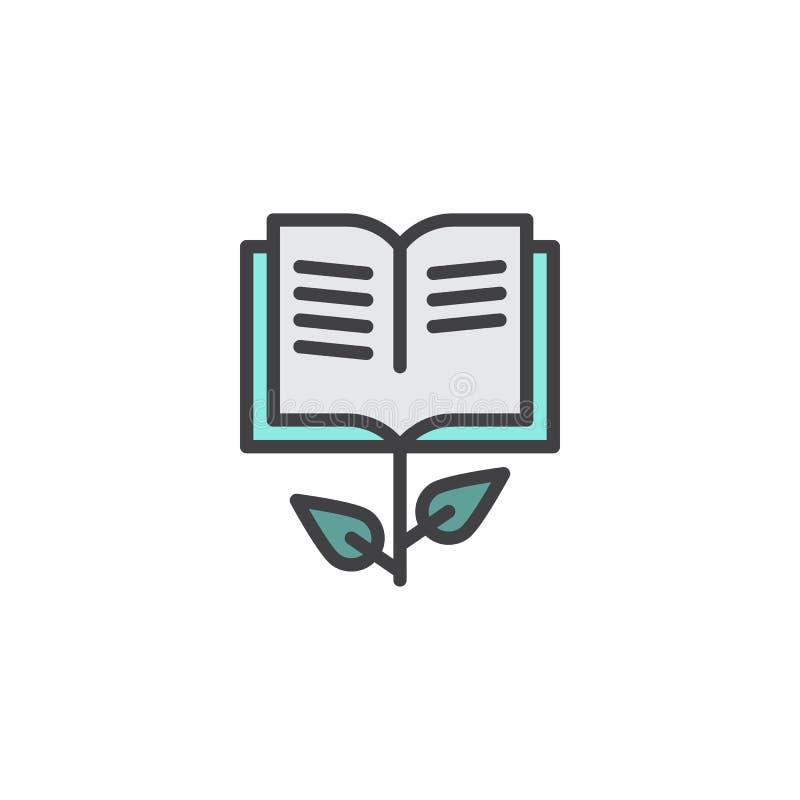 Cresça o ícone enchido livro do esboço ilustração stock