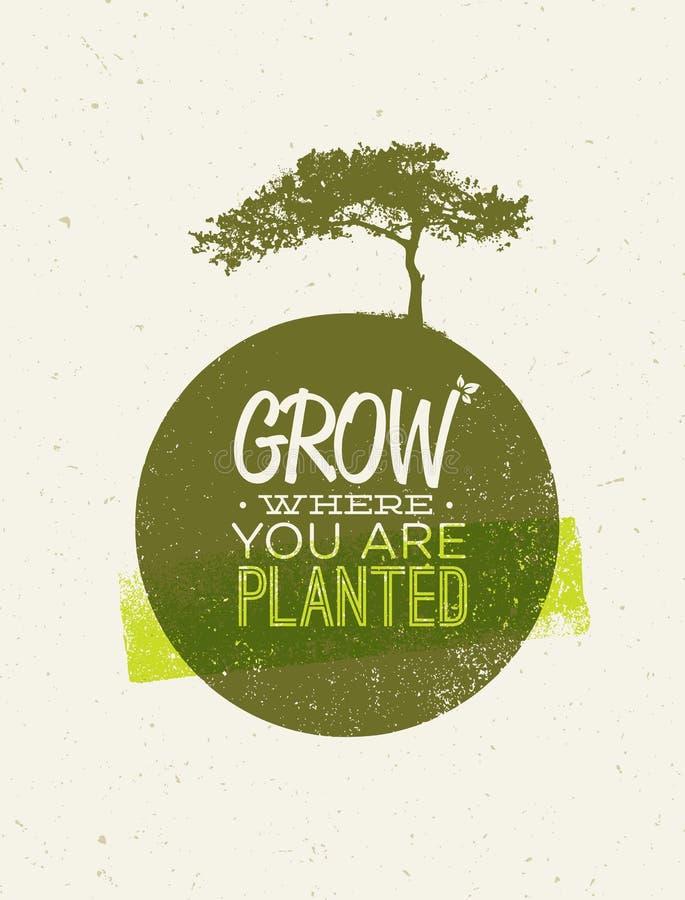Cresça onde você é citações plantadas da motivação no fundo de papel reciclado ilustração royalty free