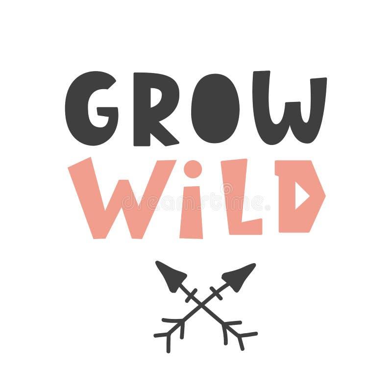 Cresça selvagem Cartaz criançola do estilo escandinavo ilustração do vetor