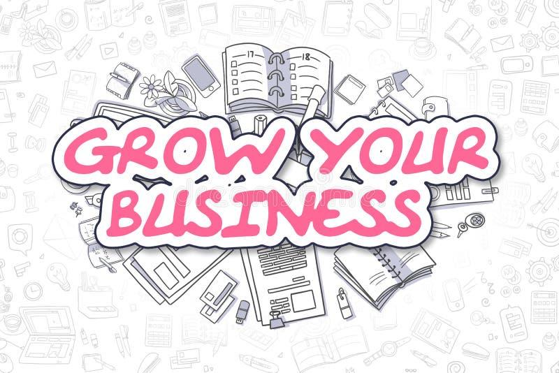 Cresça seu negócio - texto da magenta dos desenhos animados Conceito do negócio ilustração do vetor