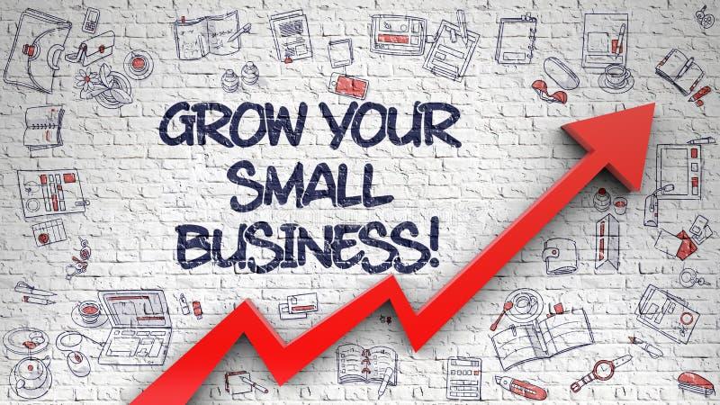Cresça sua empresa de pequeno porte tirada na parede de tijolo branca 3d ilustração stock