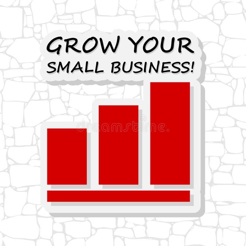 Cresça sua etiqueta da empresa de pequeno porte na parede de tijolo ilustração do vetor