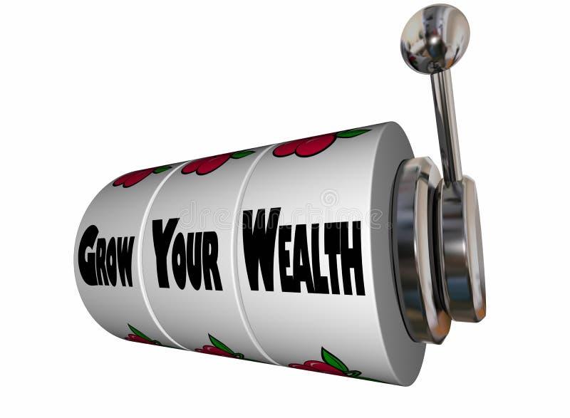 Cresça sua riqueza ganham mais slot machine do dinheiro ilustração royalty free