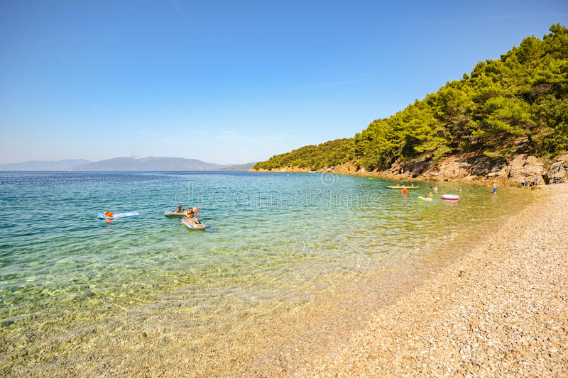 Cres Island: Beach near Valun village, Istrian coast on the Adriatic sea, Croatia royalty free stock photo
