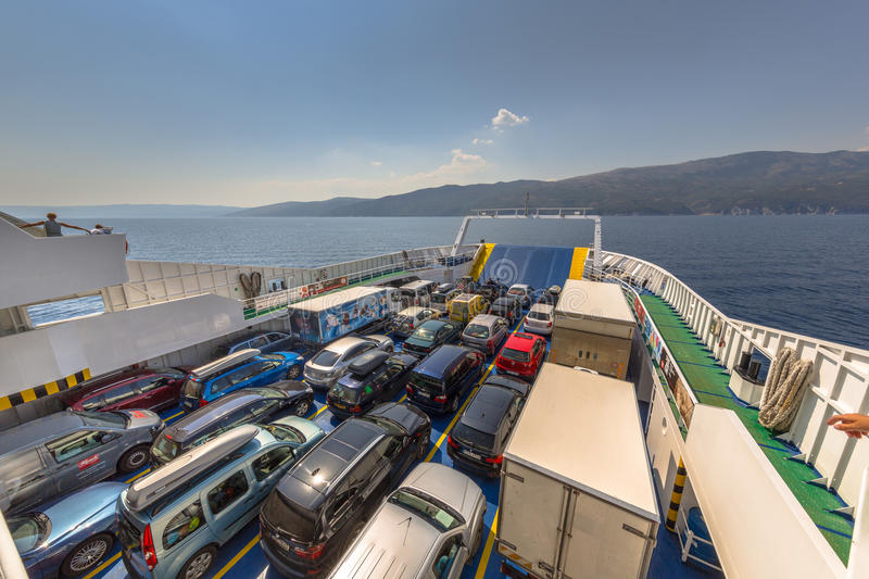 CRES ISLAND FERRY. CRES ISLAND, CROATIA - AUGUST 7: The Porosina Brestova ferry takes passengers across the Adriatic sea on august 7, 2015. From Cres Island to royalty free stock images