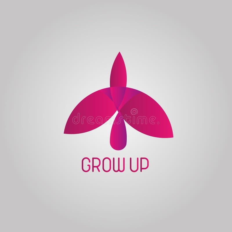 Cresca il logo dell'uccello illustrazione di stock