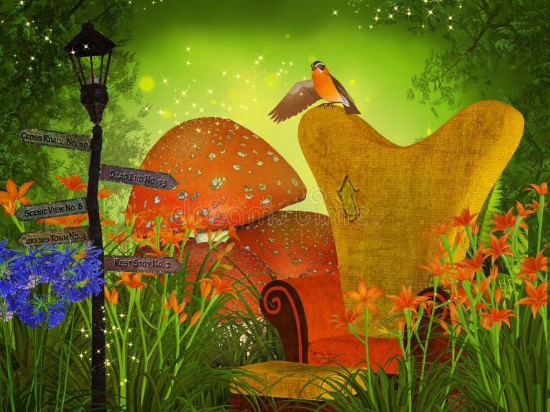 Cresce rapidamente a floresta da fantasia ilustração do vetor