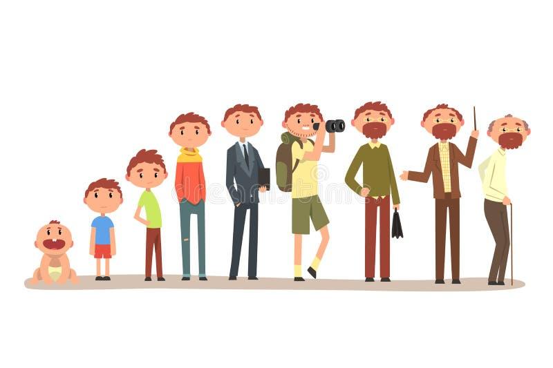 Crescendo acima de um homem do infante ao av?, ciclo da ilustra??o do vetor da vida em um fundo branco ilustração stock