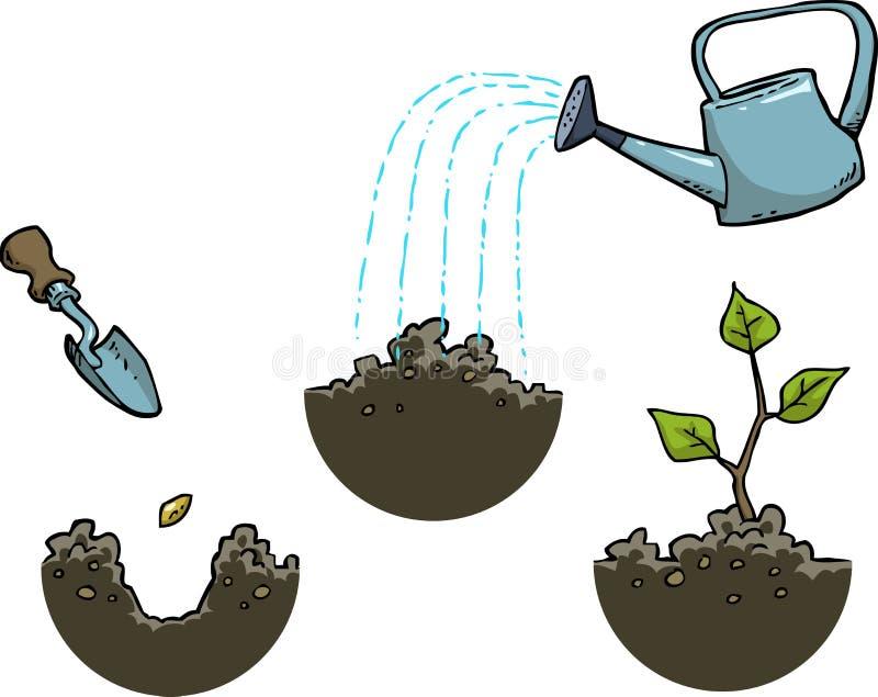 Crescendo uma planta ilustração royalty free