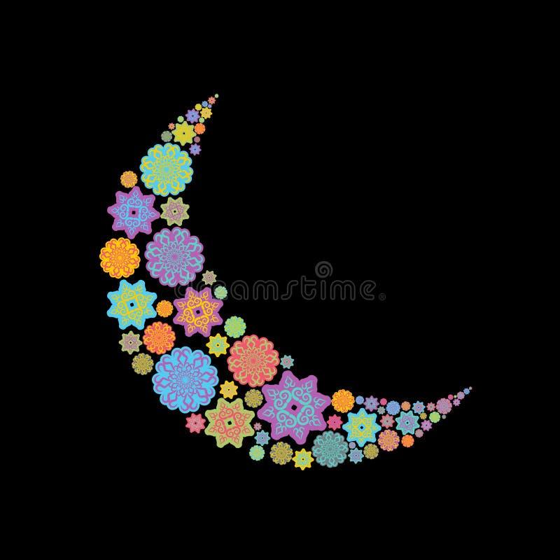 Crescent Arab-patroon Illustratie voor eid Mubarak Ramadan isl royalty-vrije illustratie