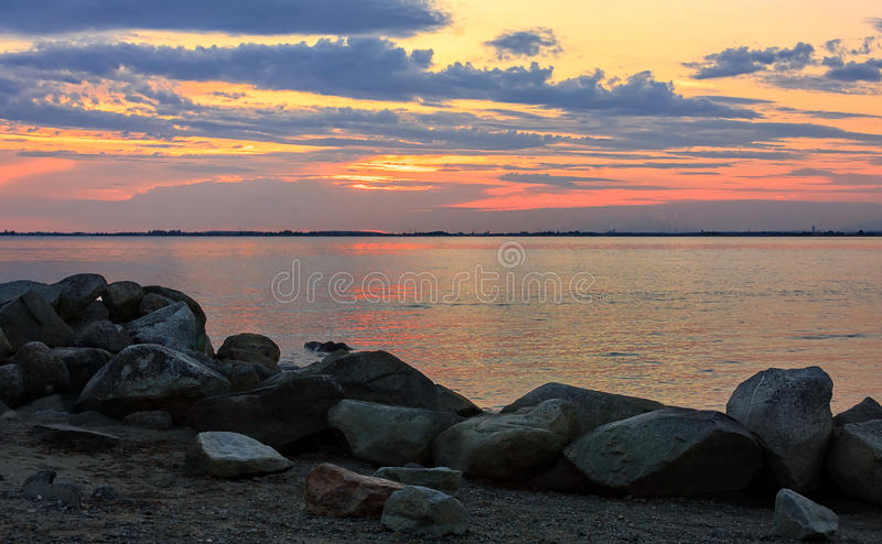 Crescent Beach Pastel Sunset foto de stock royalty free