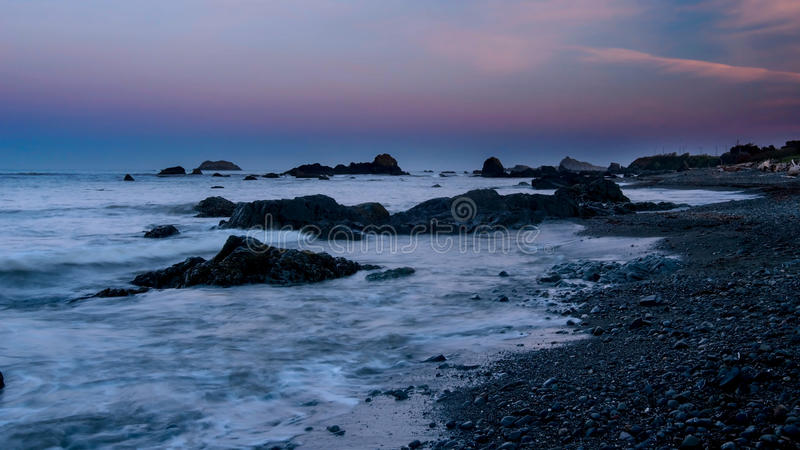 Crescent city beach in the early morning stock images