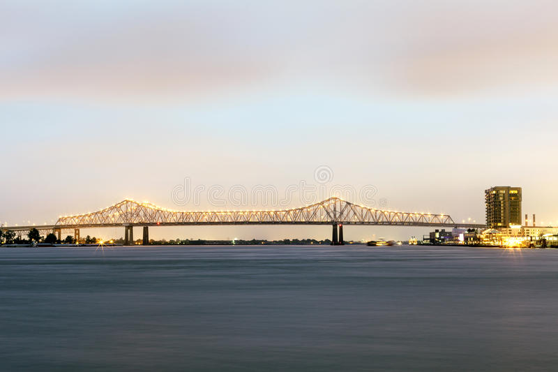 Crescent City Connection bridge in New Orleans, Louisiana. Crescent City Connection bridge in New Orleans illuminated at night. Louisiana, United States stock photo
