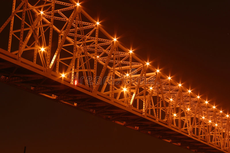 Crescent City Connection at Night royalty free stock photo