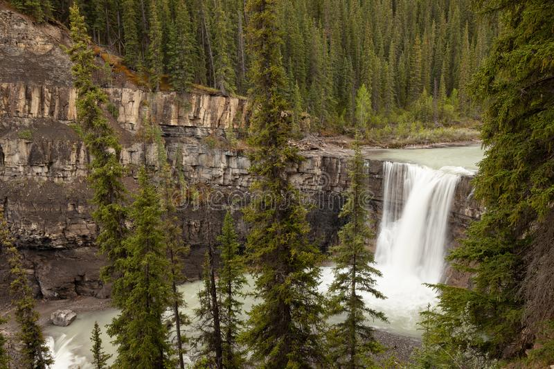 Crescent Falls in the foothills of the Canadian Rocky Mountains stock photos