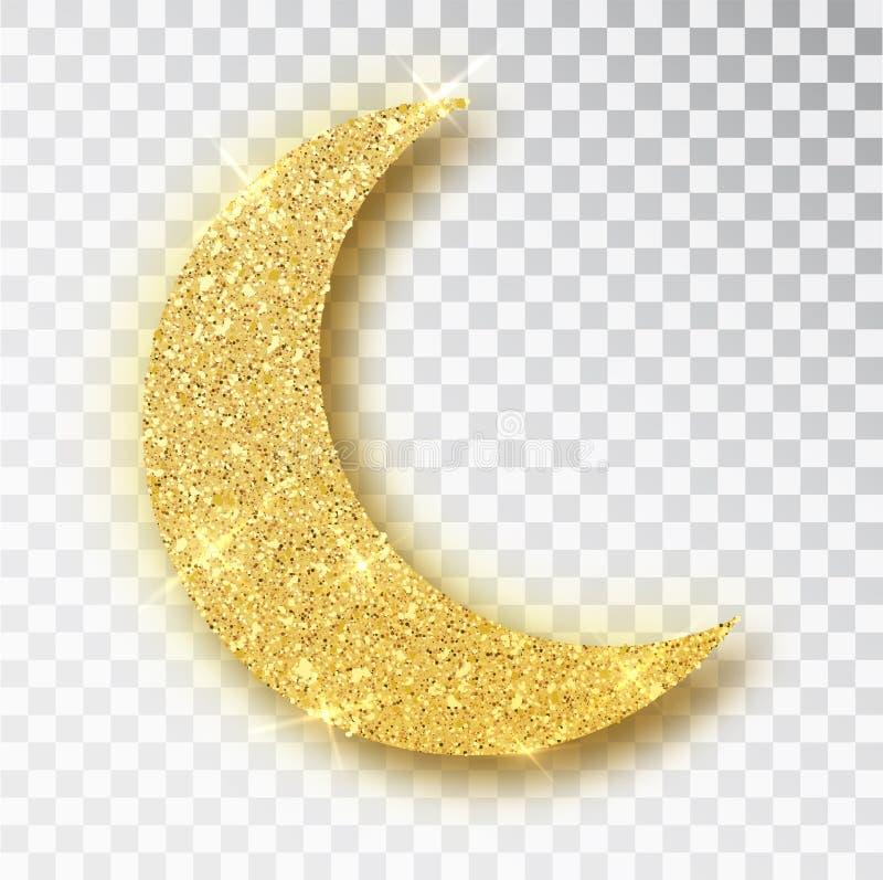 Crescent Islamic para el elemento del dise?o de Ramadan Kareem aisl? El icono del vector de la luna del brillo del oro de Crescen ilustración del vector