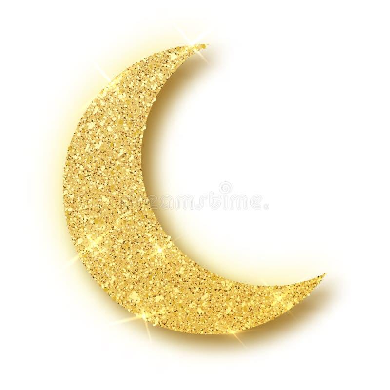 Crescent Islamic voor Ramadan Kareem-geïsoleerd ontwerpelement Het goud schittert maan vectorpictogram van geïsoleerd Crescent  vector illustratie