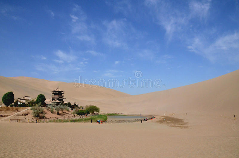 Crescent lake in dunhuang. Was taken in Dunhuang City,China.This place is a part of silk road in the history.The lake is surrounded by sands and desert stock photo