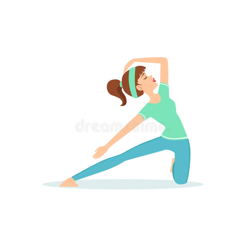 crescent lunge yoga pose demonstrated by the girl cartoon yogi with rh dreamstime com Music Note Icon Music Note Clip Art