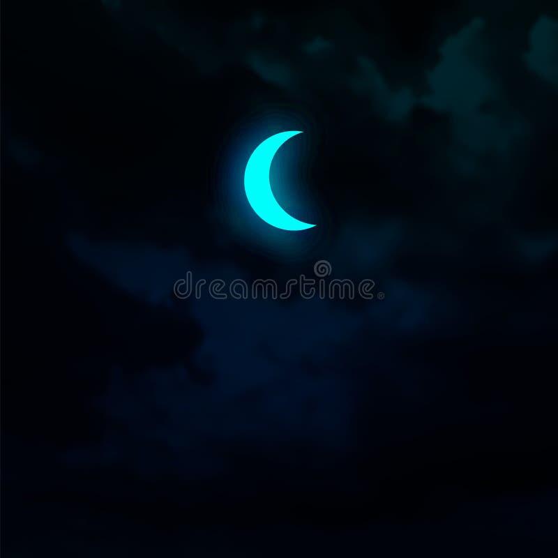 Crescent maan geïsoleerd op donkere hemelachtergrond Opblaasbaar vectordecoratief element royalty-vrije illustratie