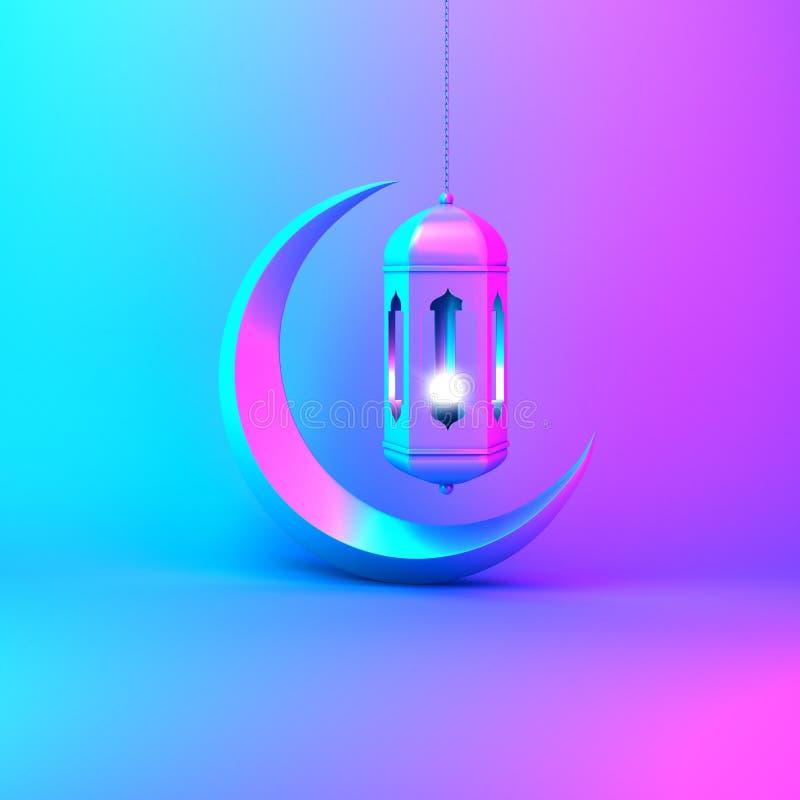 Crescent moon and arabic hanging lamp on pink blue gradient background studio lighting. Design creative concept for islamic celebration day ramadan kareem or vector illustration