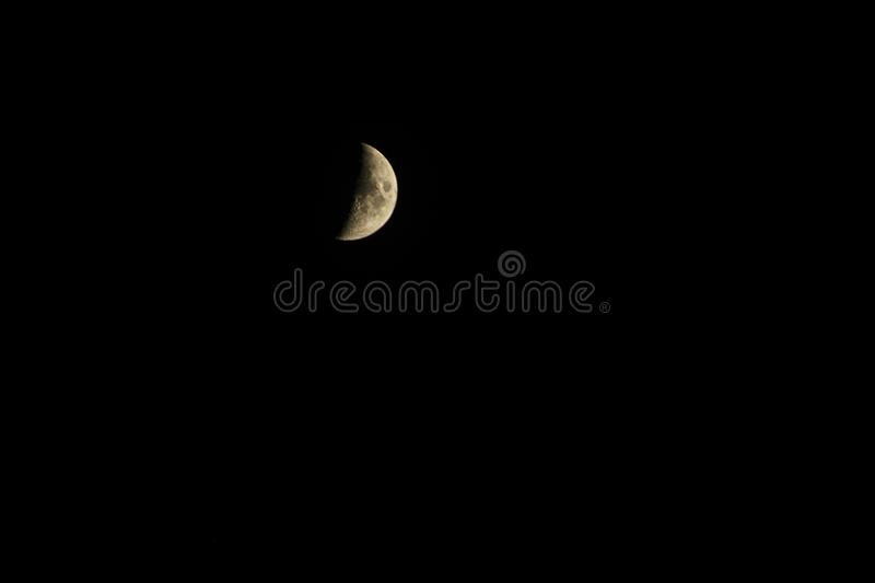 Crescent moon. Beautiful, night, crater royalty free stock image