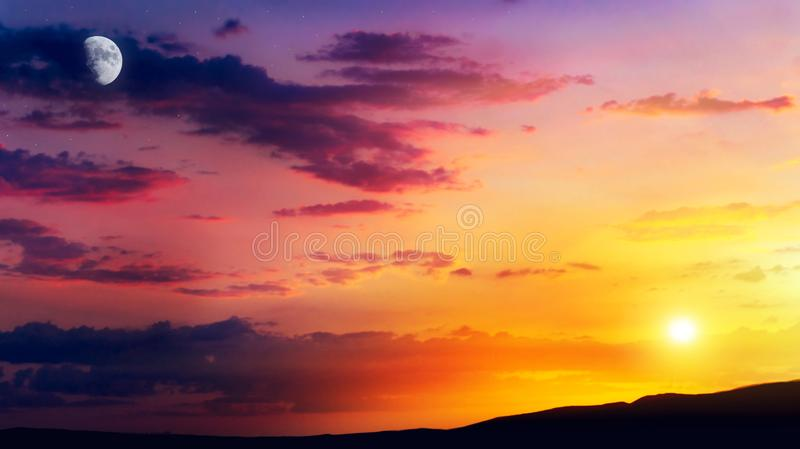 Crescent moon with beautiful sunset background . Generous Ramadan . Moon sun and stars . Light in dark sky . Beautiful landscape image of rural areas . new royalty free stock photos