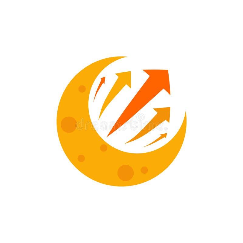 Crescent Moon Business Success Strategy-Tekensymbool royalty-vrije illustratie